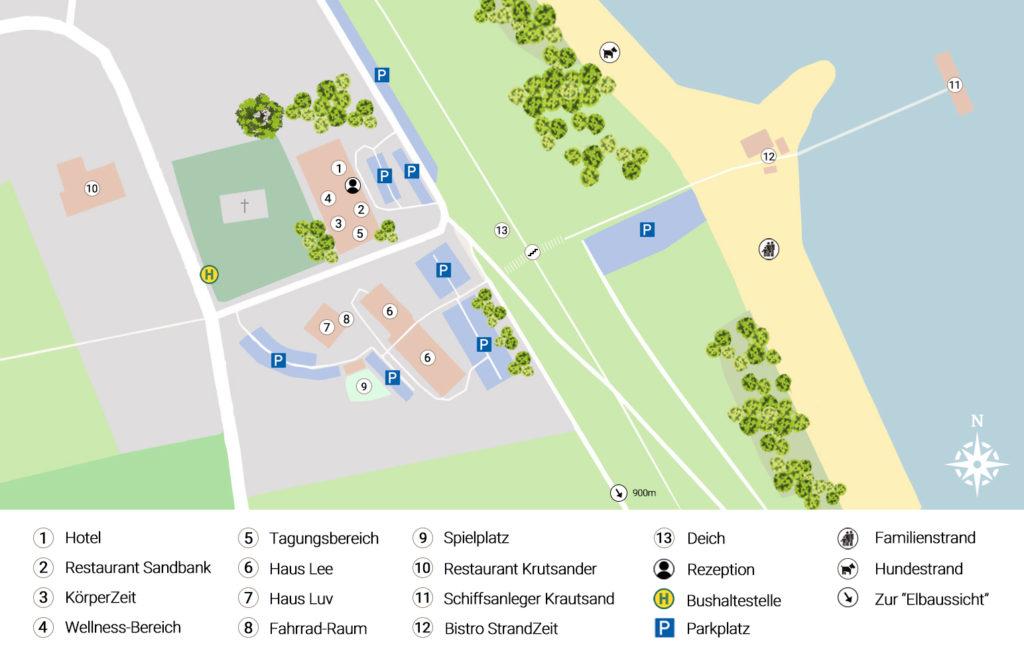 Lageplan vom Elbstrand Resort