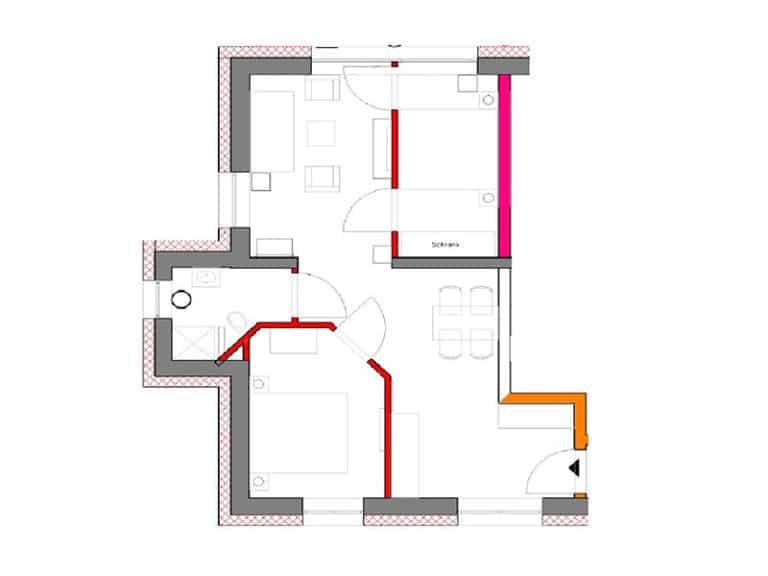 Grundriss Appartement D2 R3