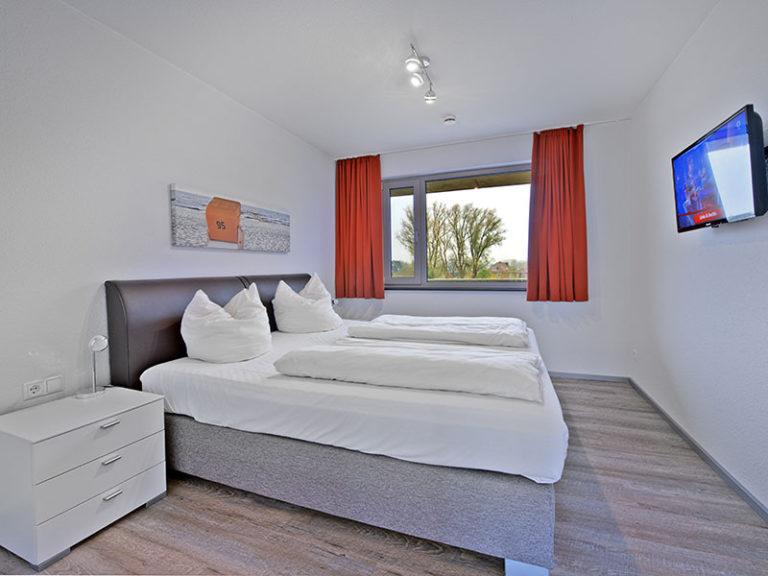 Ferienwohnung D3 R2 Schlafzimmer mit Doppelbett